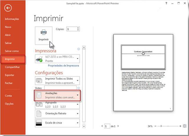 Impressão no PowerPoint