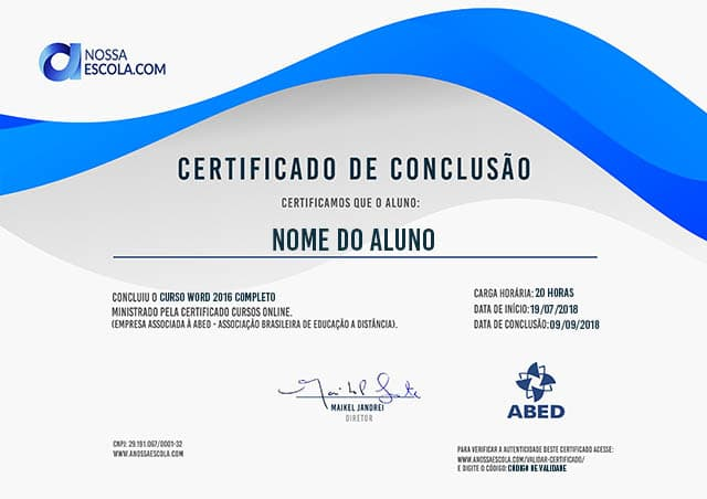 CERTIFICADO DO CURSO WORD 2016 COMPLETO