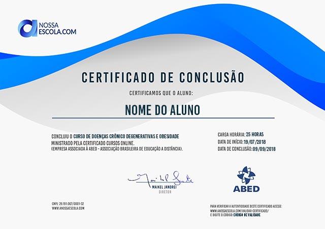 CERTIFICADO DO CURSO DE DOENÇAS CRÔNICO DEGENERATIVAS E OBESIDADE